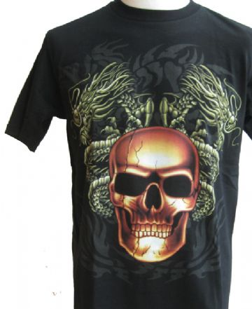 Skull And Green Dragons T Shirt With Large Colour Back Print